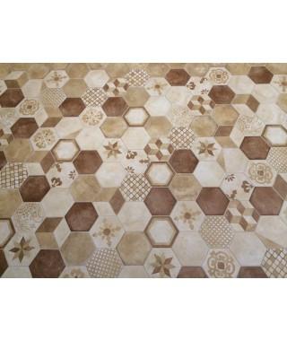 Carrelage décor marca corona terra exagone mix beige 25x21,6