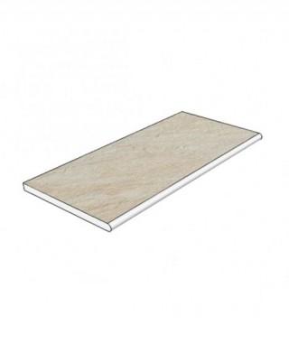 Margelle piscine angle 90 céramique travertin natural 29x60 bord demi-rond