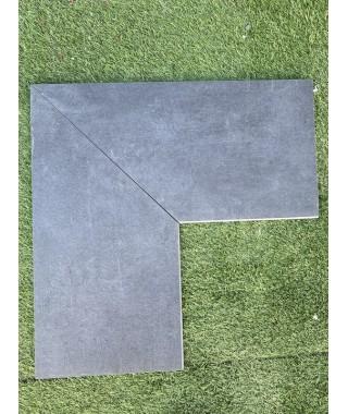 Margelle Angle 90 piscine noir absolute 29x60 demi rond