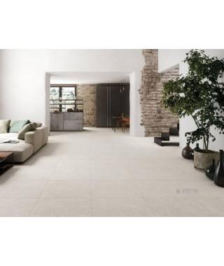 Carrelage intérieur blanc cassé imitation ciment dans salon : Refin Mold