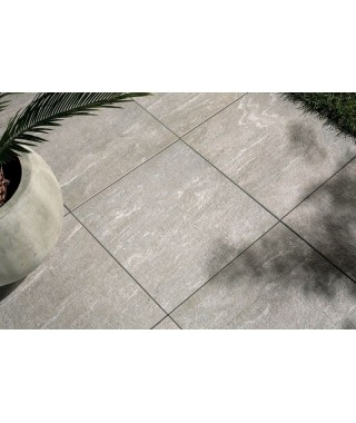 Carrelage extérieur 2cm imitation pierre Novoceram Cast rectifié structuré 60x60