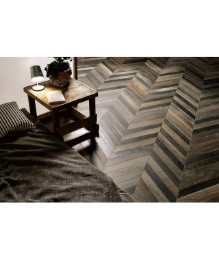 Carrelage imitation parquet Fioranese Wood_Mood chevron rectifié 7.8x53.3