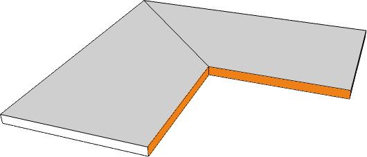 margelle angle interne bord rectiligne