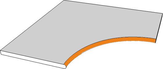 margelle angle curviligne bord demi rond