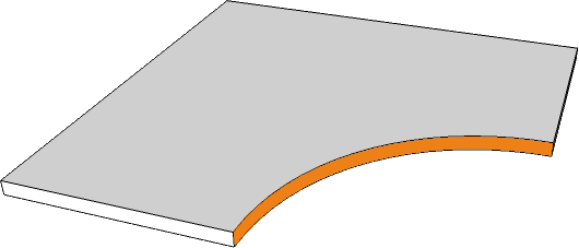 margelle angle curviligne bord rectiligne
