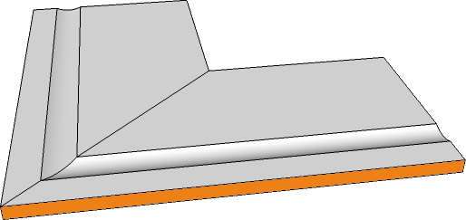 margelle angle externe evase bord rectiligne