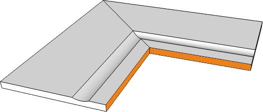 margelle angle interne bord evase rectiligne